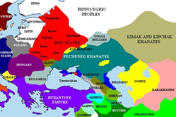 карта распространения печенегов