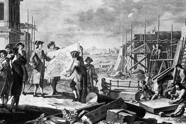 Петр контроллирует постройку здания в Петербурге