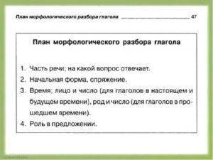 схема морфологического разбора глагола