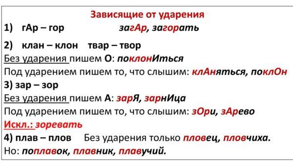 Слова исключения в русском языке