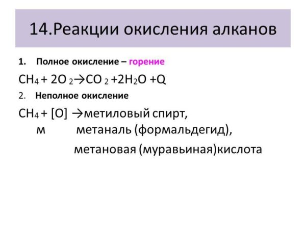 Алканы химические свойства