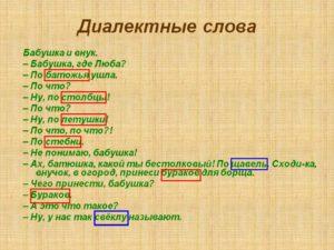 какие слова называются диалектизмами
