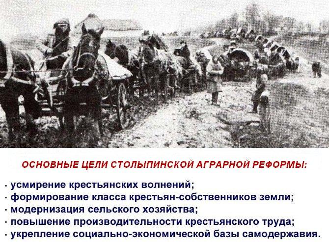 Цели Столыпинской реформы