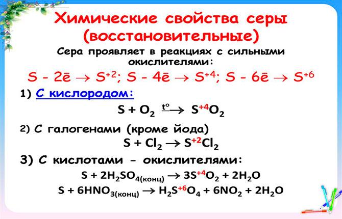 Химические свойства серы