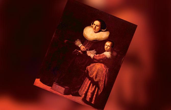 Портрет Сусанны ван Коллен и ее дочери Анны, 1632 г.