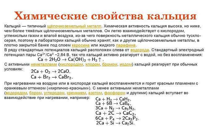 Химические свойства кальция