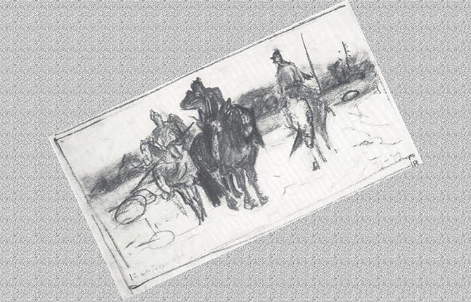 Карандашный эскиз к картине Богатыри