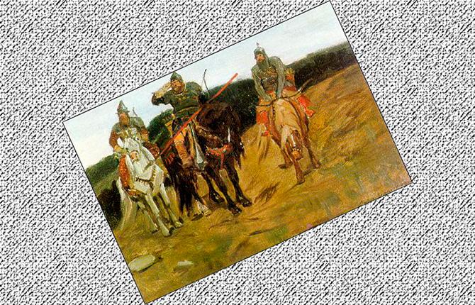 Первый этюд картины Три богатыря маслом