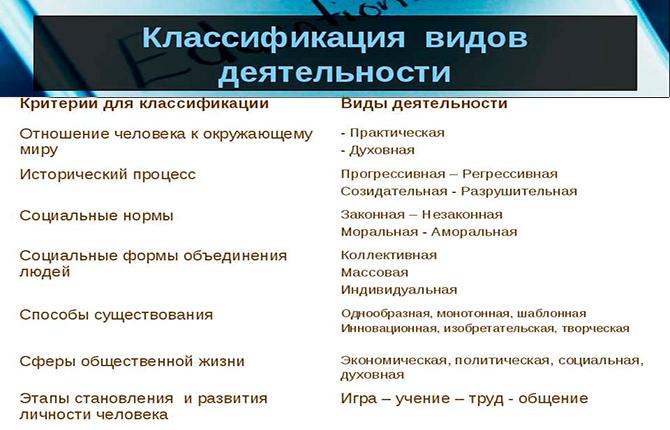 Основные виды деятельности человека — примеры с описанием